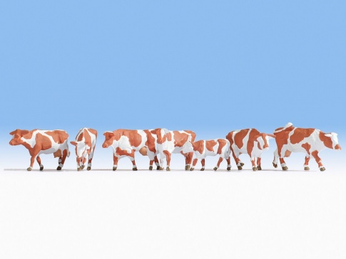 Noch 36723 Brown & White Cows (7) Figure Set in N gauge