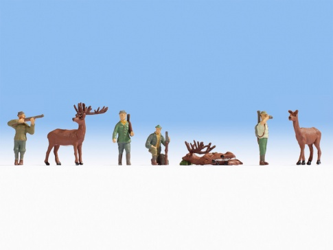 Noch 15731 Hunters (4) And Deer (3) Figure Set