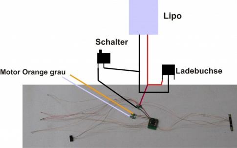 Car-System 7002, radio-controlled 2.4GHz decoder for trucks, with soldered LEDs, sensor, backlight carrier