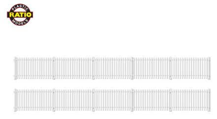 RATIO 421 OO Gauge GWR Station Fencing, White (straight only)