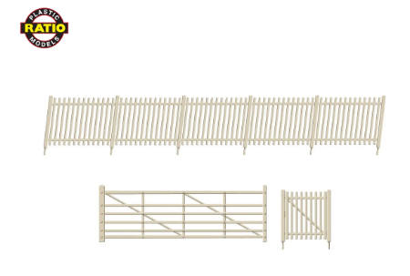 RATIO 432A OO Gauge SR Precast Concrete Pale Fencing (gates & ramps)