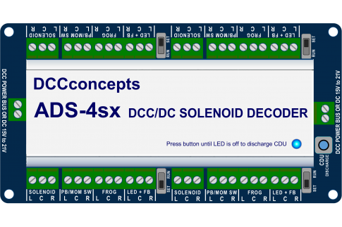 DCC Concepts ADS4sx accessory decoder.