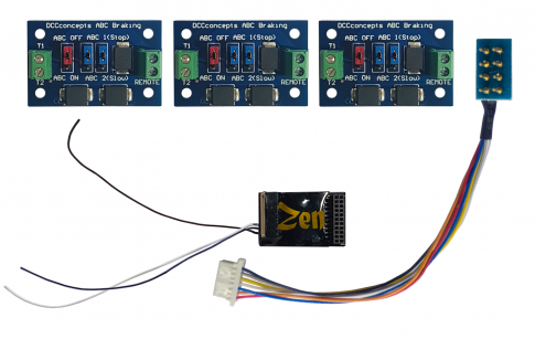 DCC Concepts Zen Black 21 & 8-pin 6 function decoder and 3 ABC modules