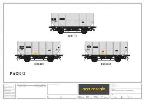 Accurescale BR 24.5T HOP24/HUO Coal Hopper - Grey TOPS- Pack G