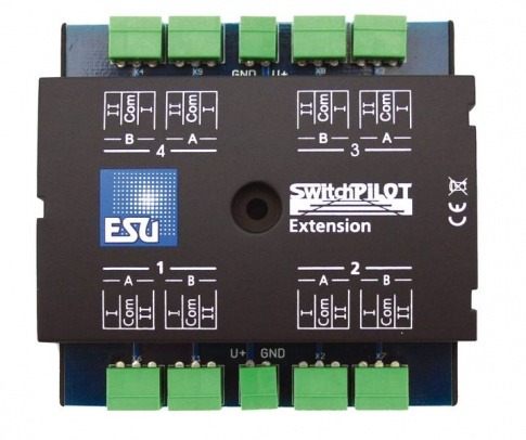 ESU 51801 SwitchPilot Extension, 4 twin-relays (DPDT) output, 2A each, extension for Switch Pilot Family