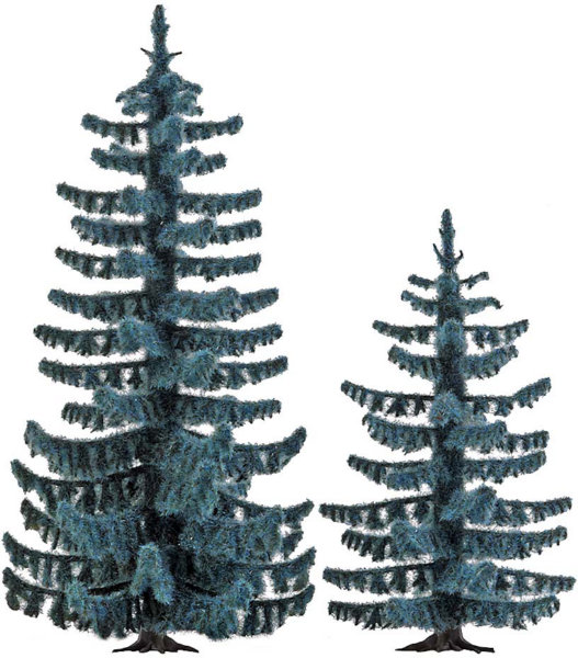 2 Blue spruce trees 55mm