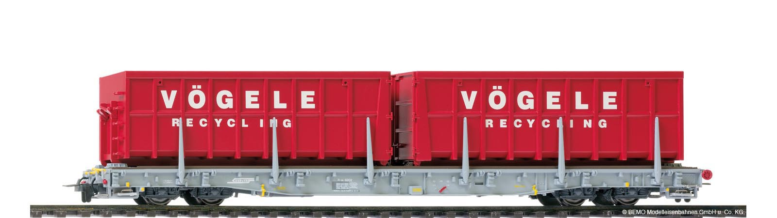 Bemo 2291 122RhB Rw 8202 ACTS carrier car ''Vögele Recycling''