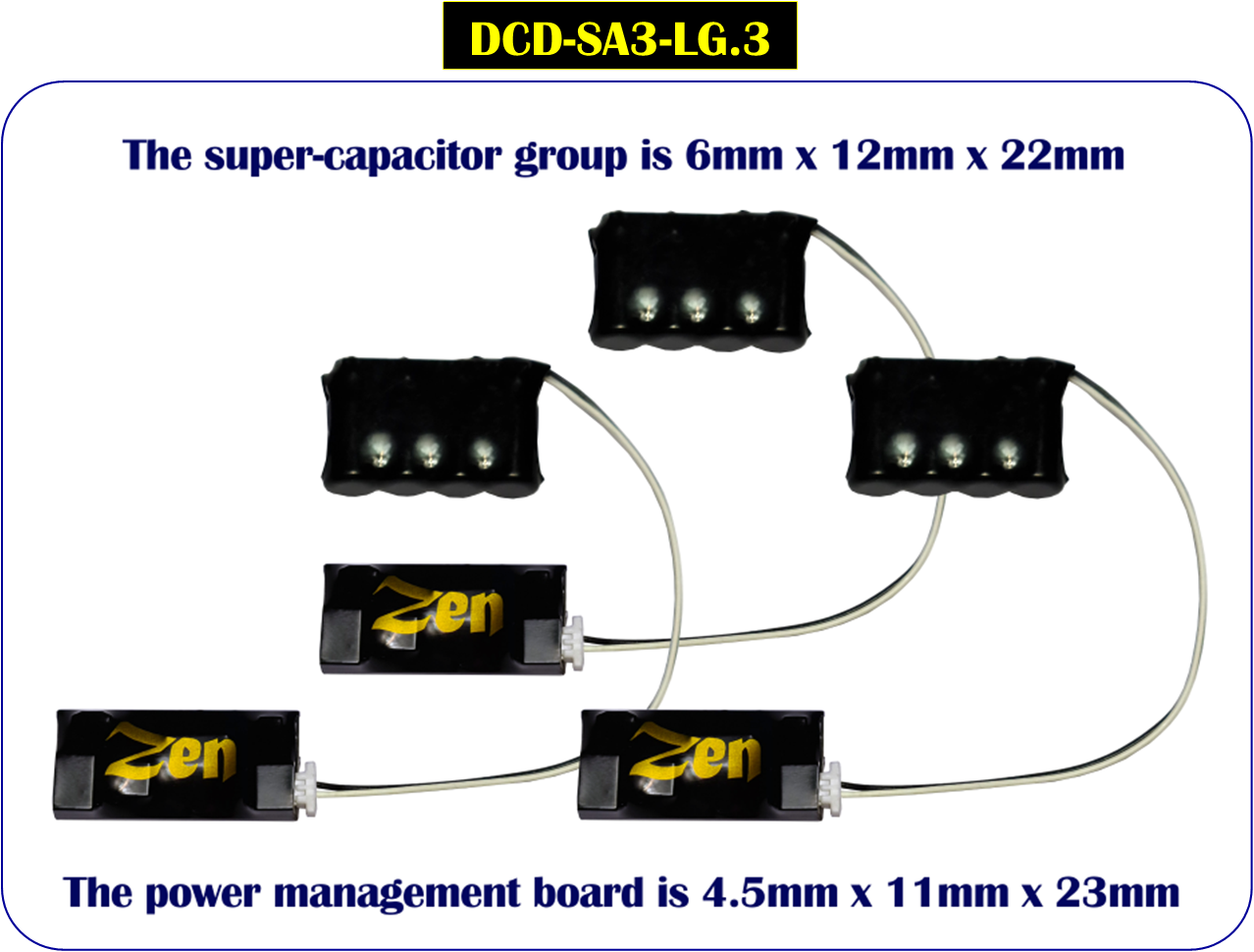 DCC Concepts DCD-SA3-LG.3 Zen 3-Wire Large Stay Alive for Zen Black & Blue+ Decoders  (3 Pack)