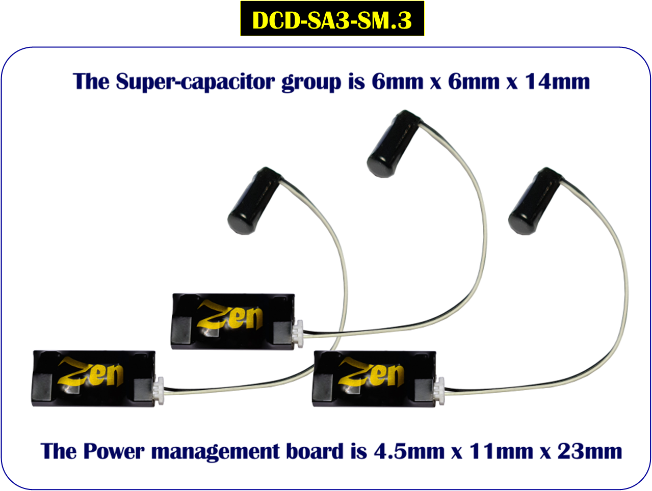 DCC Concepts DCD-SA3-SM.3 Zen 3-Wire Small Stay Alive for Zen Black & Blue+ Decoders (3 Pack)