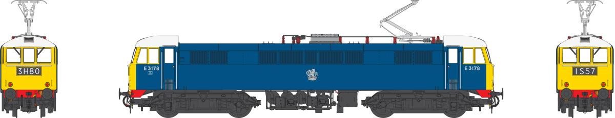 Heljan 8652 - Heljan Class 86 - E3178 With Full Yellow Ends - White Cab Roof - Red Bufferbeams