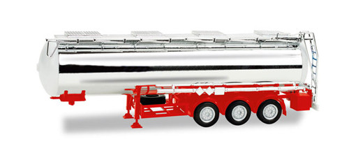 Herpa 076456-002 Chrome Plated Chemical Tank Trailer W/Red Chassis