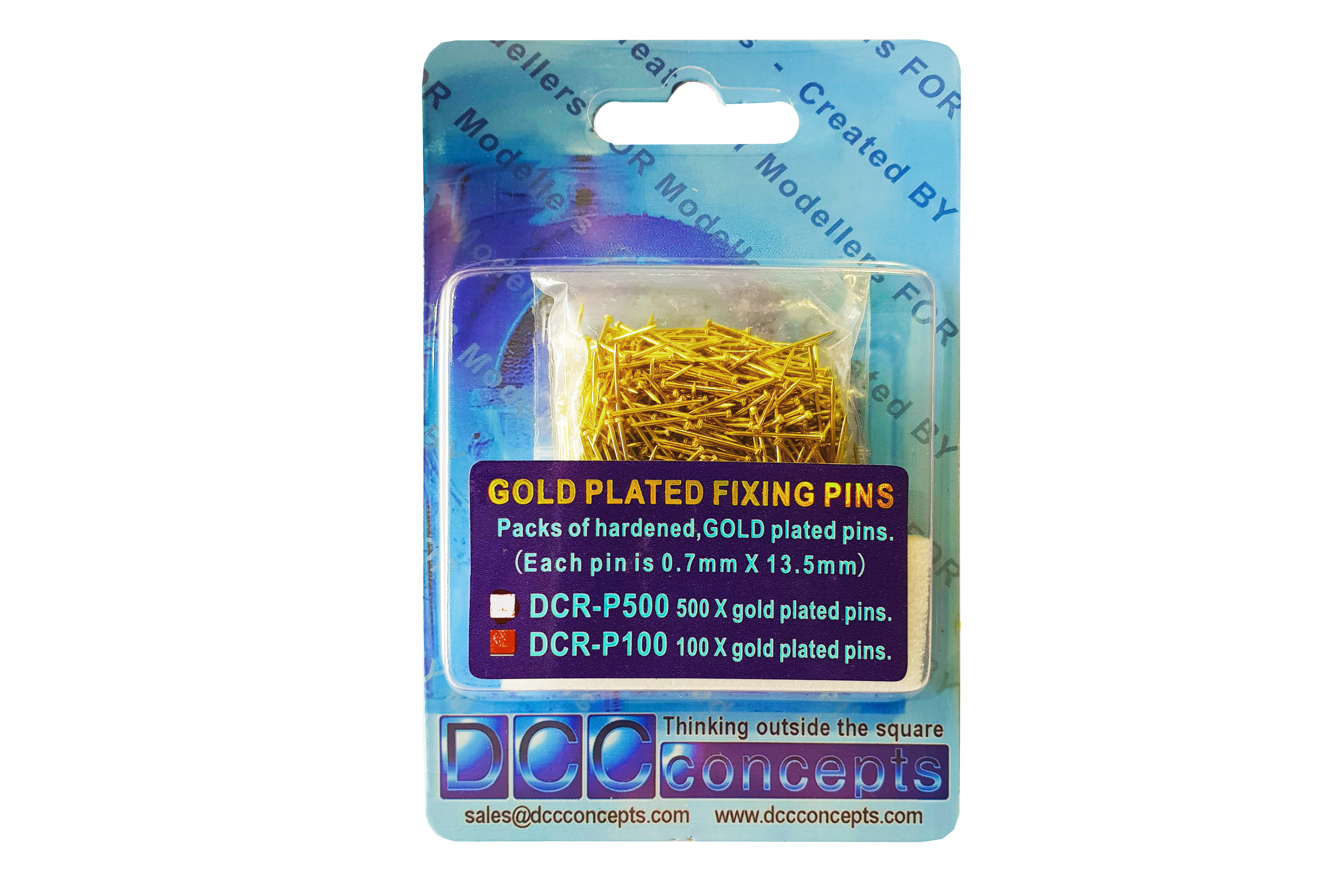 DCC Concepts DCR-P100 Pack of 100 Gold Plated Pins