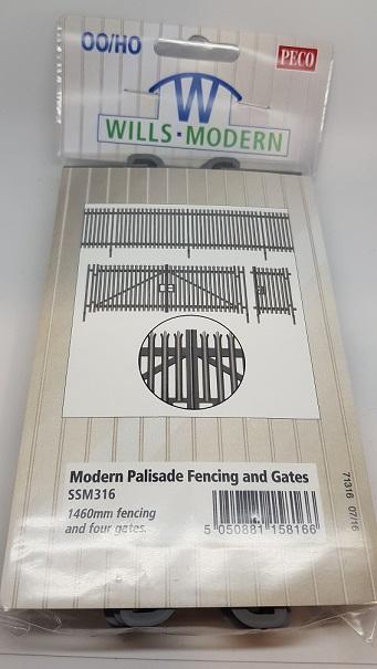SSM316 Wills OO//HO Gauge Modern Palisade Fencing /& Gates
