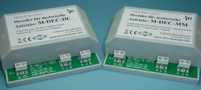 LDT M-DEC-4 4-fold motor-turnout decoder for DCC Digital as a finished module in a case