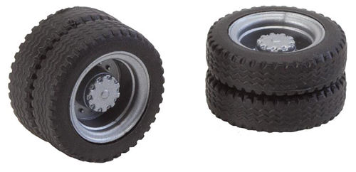 Faller 163103 Two Wheels (Twin Tyres) NQ Tyres & Rims for Lorries/Buses