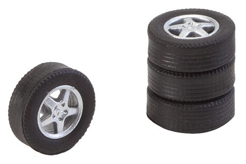 Faller 163113 4 tyres and rims for passenger cars.