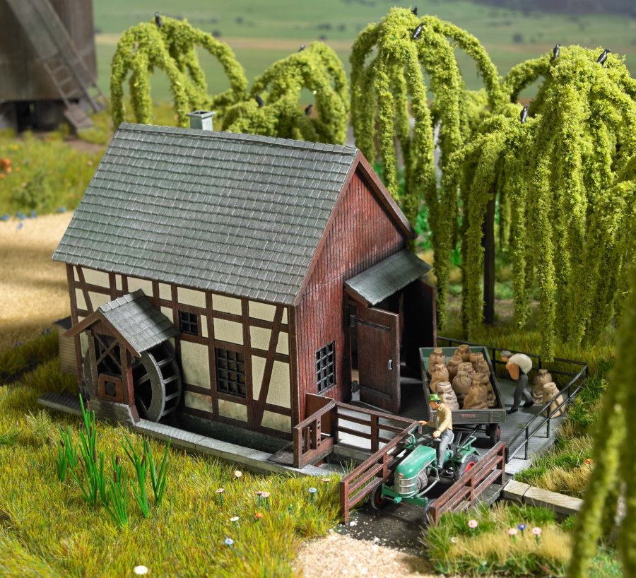 Half timbered watermill kit with base