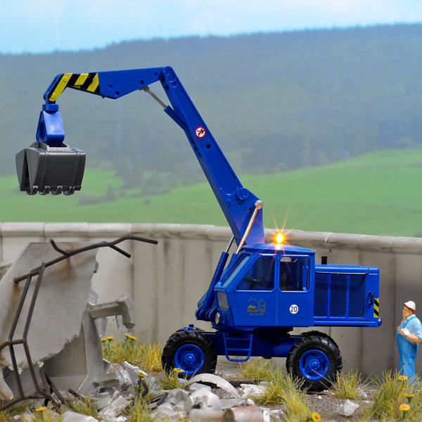 BUSCH 5619 Blue Excavator with working warning light