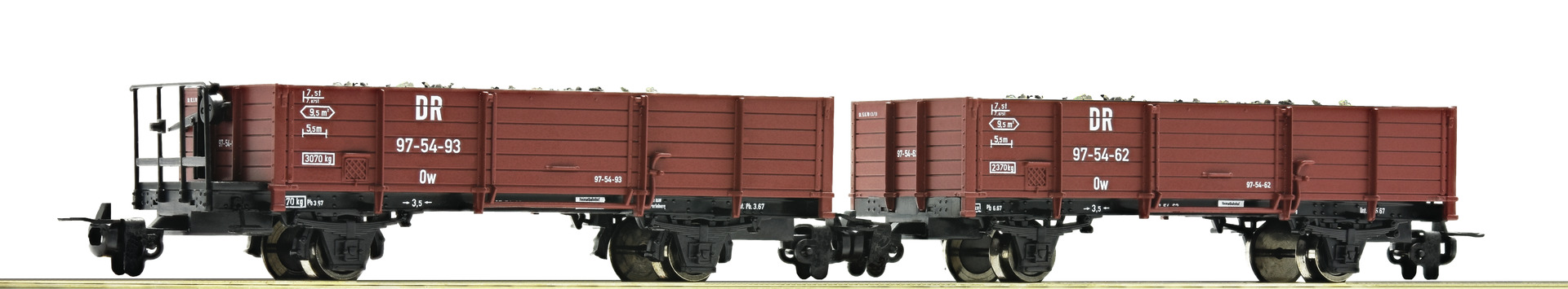 Roco 34589 2 piece set: ballast wagons, DR