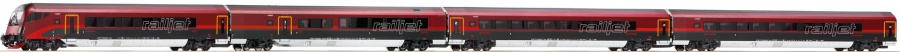 Roco 64180 OBB Railjet RJ162 Coach Set (4) Interior Lighting VI (~AC)