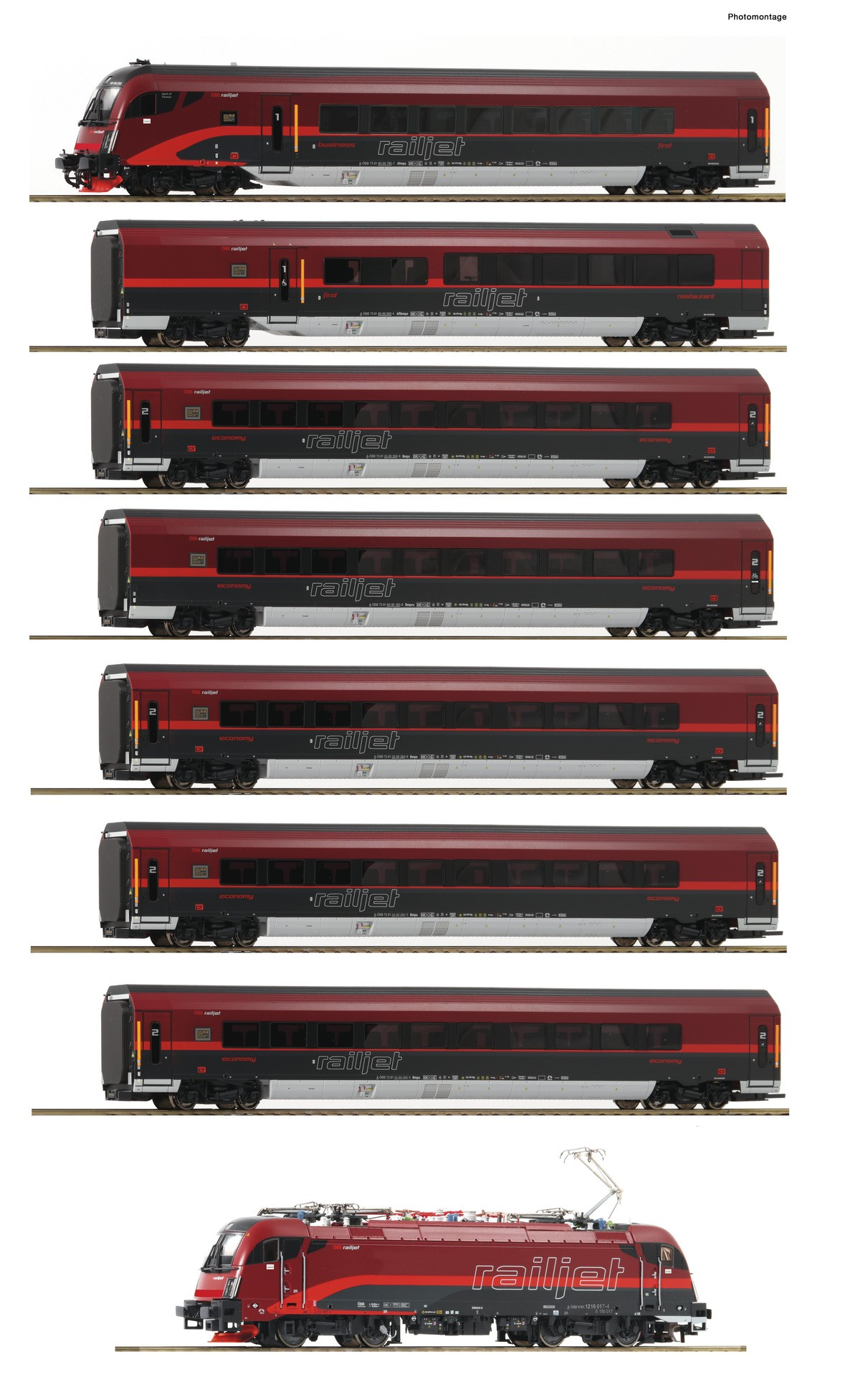 Roco 74114 Railjet Set 8 piece set: OBB