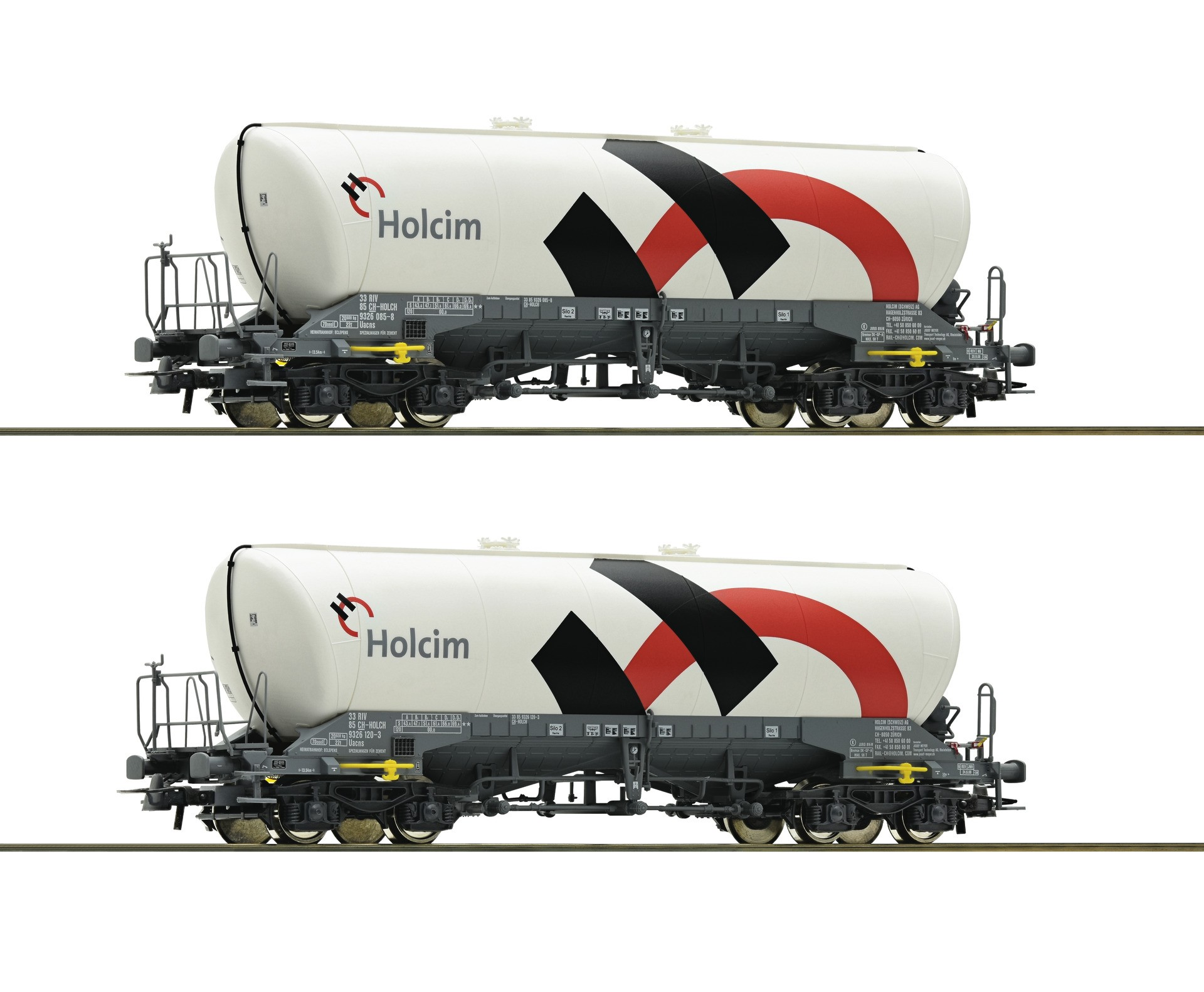Roco 76145 Holcim wagon Silo 2 piece set