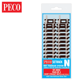 PECO ST-3002 Setrack N Gauge Code 80 Short Straight ST-2 x 4 lengths