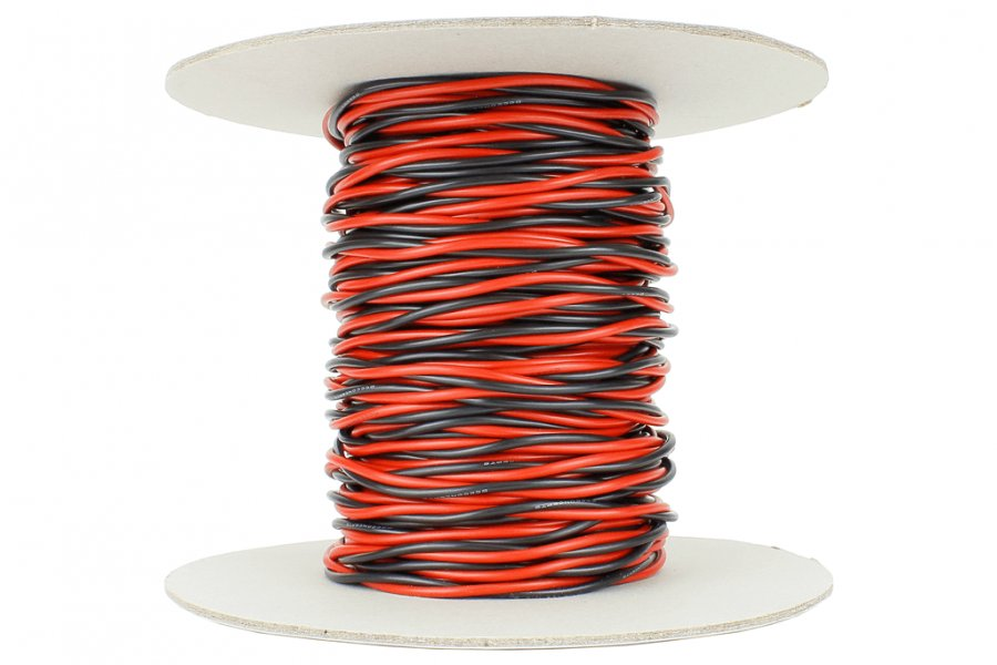 DCC Concepts Twisted Bus Wire 25m of 1.5mm (15g) Twin Red/Black