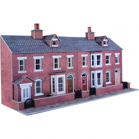 PO274 00/H0 Low Relief Red Brick Terraced House Fronts