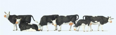 Preiser 73013 High Quality OO Scale - Black & White Cows (6)