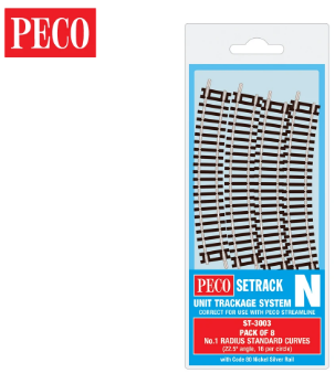 PECO ST-3003 Setrack N Gauge Code 80 Radius 1 (228mm) Standard Curve ST-3 x 8 lengths