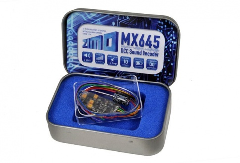 Zimo MX645 Sound  Decoder with energy  storage circuitry  - 30 x 15 x 4mm  - 1.2 Amps - 3 Watt Audio (wires only)