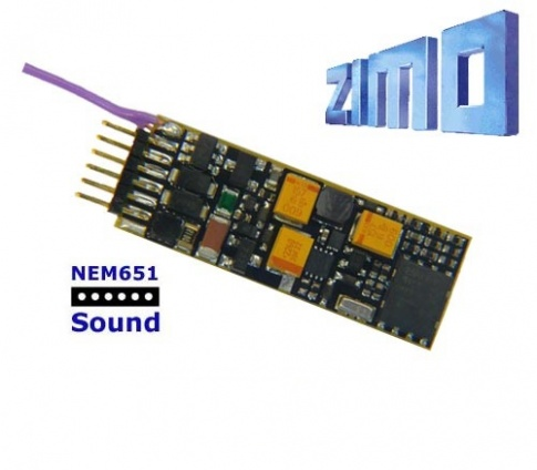 Zimo MX646N As MX646 with 6 pin NEM 651 plug mounted directly on decoder