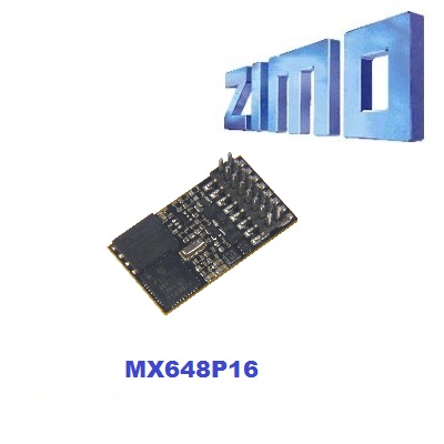Zimo MX648P16 As MX648 with 16 pin PluX connector NEM 658 (male) mounted directly on decoder